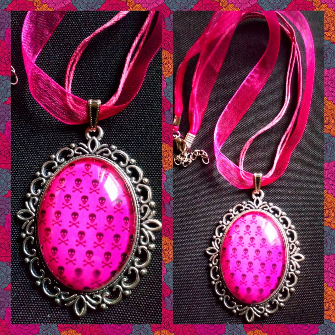 Collier skull pink