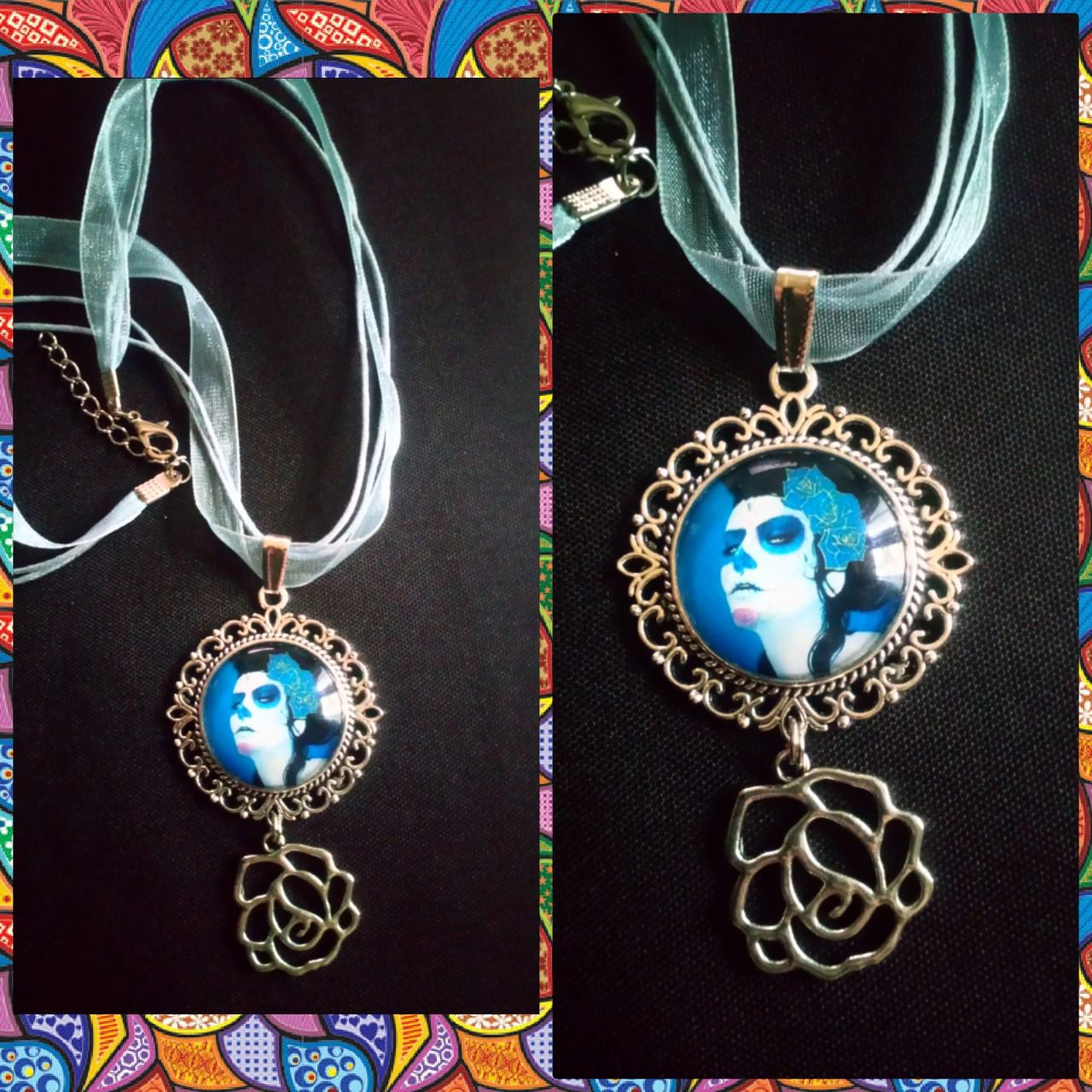 Collier Calaveras blue et sa rose